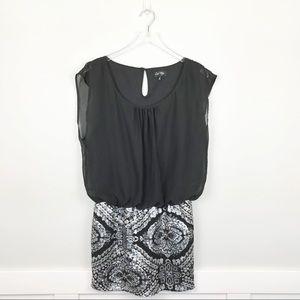 Love Reign Sequin Mini Dress Silver Black